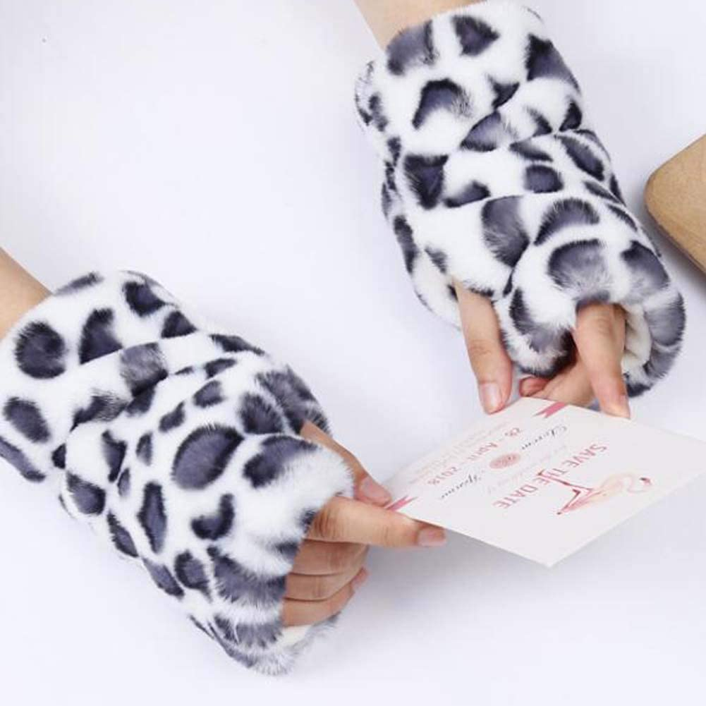 White Leopard Print Short Arm Warmer Plush Arm Sleeve Fingerless Thumb Hole Mittens Gloves for Women Winter Warm