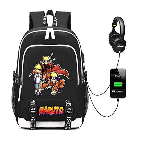 EDMKO Anime Japonés Uzumaki Naruto Cosplay Mochila Ordenador Portatil con Puerto de Carga USB Bolsa de Viaje Resistente al Agua para Hombres Y Mujeres