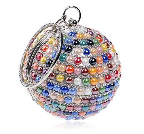 PZY Damen-High-End-Diamant-Handtasche, Kugelförmige Einzigartige Abendtasche, Ketten Bankett-Tasche, Damen-Mini-Kupplung, Mode-Tasche Für Frauen,Colorful