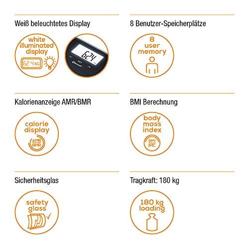 Beurer 748.03 BF 600 Pèse-personne Impédancemètre en Verre avec Bluetooth Pure Black