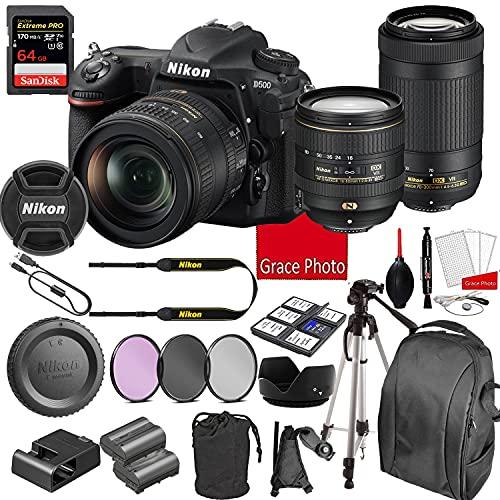 Nikon D500 DSLR Camera Kit with 16-80mm + 70-300mm VR Lenses | Built-in Wi-Fi | 20.9 MP CMOS Sensor | SnapBridge Bluetooth Connectivity | Extreme Speed 64GB Mempry Card (27pc Bundle)
