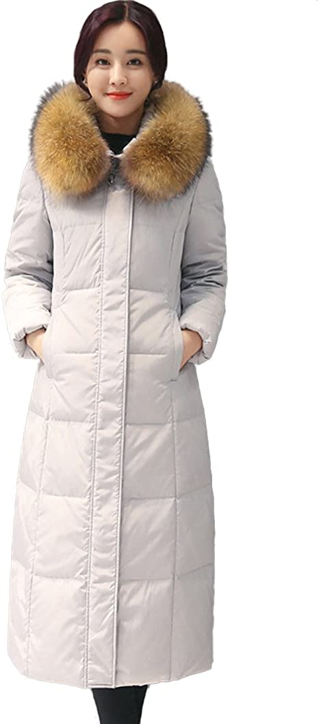 Queenshiny Womens Hooded Winter Warm White Duck Down Coat with Fur Collar Jacket
