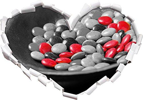 Chocolat Smarties Bonbons au Chocolat Noir/Forme de Coeur Blanc dans Le Regard 3D, Mur ou Un Autocollant de Porte Format: 62x43.5cm, Stickers muraux, Stickers muraux, Décoration Murale
