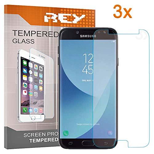 REY 3X Protector de Pantalla para Samsung Galaxy J7 2017, Cristal Vidrio Templado Premium