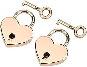 2 stks gepersonaliseerde rose gouden slot met sleutel hartvormige hangslot & skelet sleutel metalen slot voor sieraden doo...