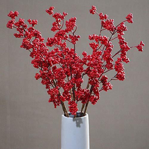 Kleine Finger-Schaumstoff-Blumen, 1 Stück, rote Beeren, Stechpalme, Kunstblume für Dekoration Weihnachten Neujahr, Heimdekoration rot