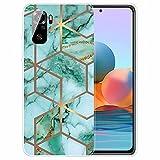 TTNAO Funda para Xiaomi Redmi Note 10S Cover Ultra Delgado Case Suave Silicona Fina Carcasa Antichoque Bumper+2 Piezas Protector de Pantalla-Mármol Verde