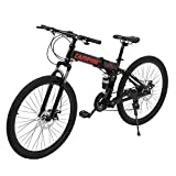 26'' Electric Bikes for Adult,21-speed Electric Foldable Mountain Bike with Removable Lithium Battery,Double-kill Disc Brake System,Ebikes Bicycles All Terrain for Mens