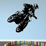 Calcomanía de pared de Motocross, motocicleta, salto, deporte, pegatina microscópica para ventana, dormitorio, sala de juegos, decoración del hogar, papel tapiz