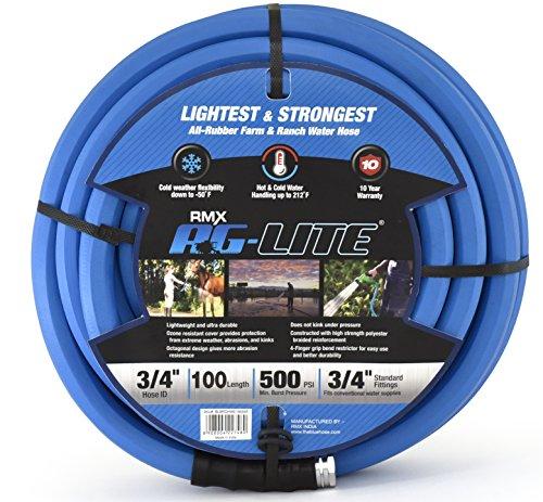 """AG-Lite Rubber Hot & Cold Water Rubber Garden Hose: Ultra-Light & Super Strong (3/4"""" x 100') - BSAL34100"""