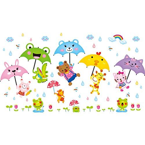 TAOYUE Cartoon Paraplu's Muurstickers DIY Dieren Muurstickers voor Kinderen Kamers Baby Slaapkamer Glas Home Decoratie
