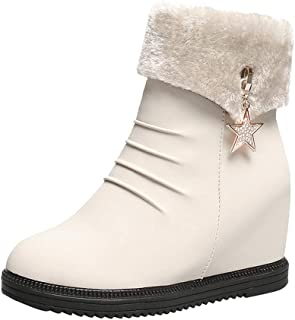 Women Winter Warm Boots, Ladies Solid Round Toe Wedge Shoes Side Zipper Snow Boots Non-slip