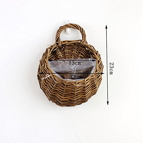 Handmade Woven Hanging Basket Natural Wicker Hanging Storage Basket for Home Garden Wedding Wall Decoration Deep Yellow