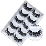 3D False Eyelashes, Faux Mink Fake Eyelashes Handmade Thick Nature Fluffy Long Eyelashes Reusable 5 Pairs for Birthday, Marrage Makeup