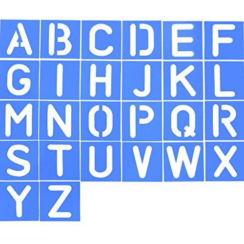 26 Piezas Plantilla de Letra de Plástico Plantilla de Alfabeto Set para Pintura Aprendizaje Bricolaje, Azul