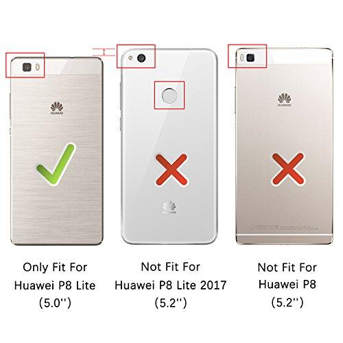 HOOMIL Handyhülle für Huawei P8 Lite Hülle, Premium PU Leder Flip Schutzhülle für Huawei P8 Lite Tasche, Schwarz - 3