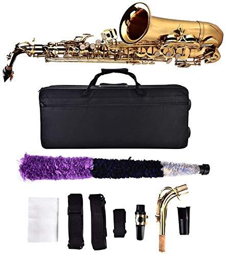 Saxofón Alto, saxofón Alto E Saxofón Plano con Caja de Almacenamiento y boquillas, Color Dorado