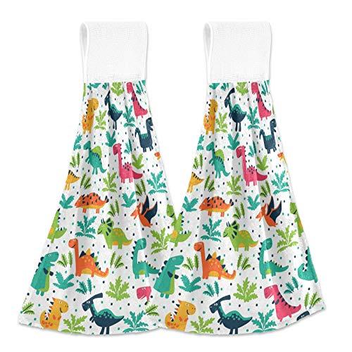 Oarencol Toalla de mano de cocina con diseño de dinosaurios, colorida, diseño de lunares, absorbente, para colgar, con lazo para baño, 2 unidades
