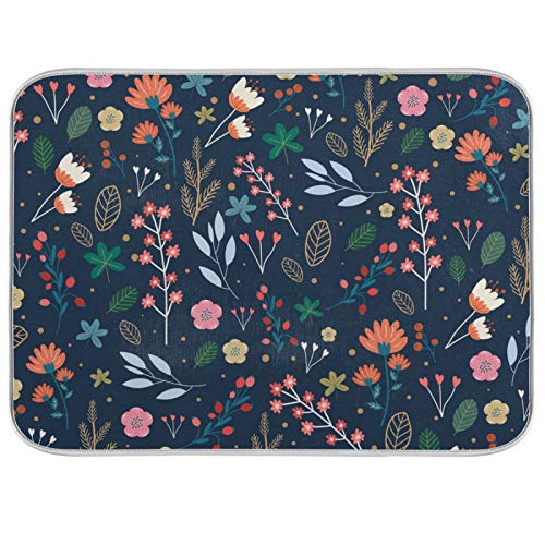 Microfiber Dish Drying Mat for Kitchen Counter 18'' x 24'' Colorful Flowers Absorbent Dish Draining Mat Extra Large Arkansas