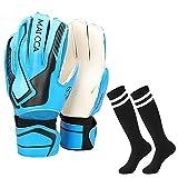 Villavivi 2 Artículos De Portero: Guantes De Portero De Fútbol con Protectores para Dedos + Calcetines De Fútbol para Niños, Niños (Azul, 6)