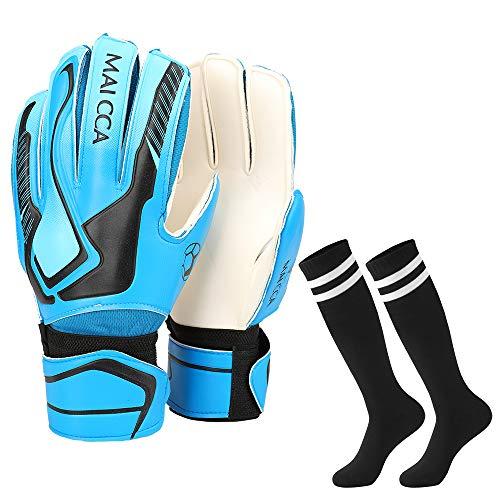 Villavivi 2 Artículos De Portero: Guantes De Portero De Fútbol con Protectores para Dedos + Calcetines De Fútbol para Niños, Niños (Azul, 5)