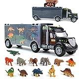 yoptote Dinosaur Toys Truck Carrier Toy Car Playset with Play Mat Plastic Dinosaur Figures Animal Toys Kids Toys Age 3 4 5 6 Birthday Halloween for Kids Boys Girls