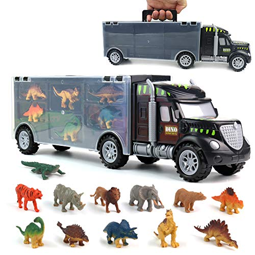 yoptote Dinosaur Toys, Truck Carrier Toy Car Playset with Play Mat Plastic Dinosaur Figures Animal...