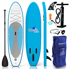 "WIDE SUP DESIGN – The Serene Life stand up paddling board is 10' long and provides 32"" of deck width for improved stability and balance while standing SUPERIOR MANEUVERABILITY – The triple bottom panel fins help board improve overall speed, handling ..."