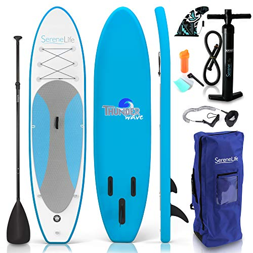 SereneLife Inflatable Stand Up Paddle Board (6 Inches Thick) with Premium Accessories & CarryBag |...