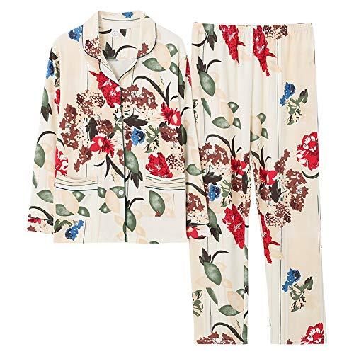 DFDLNL Pyjama-Set mit Blumendruck für Frauen Herbst-Langarm-Nachtwäsche aus Reiner Baumwolle Damenbekleidung Nachtwäsche XXL