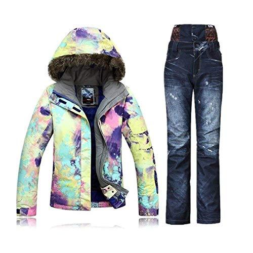 Winter Mountain Skiën Pak ski Suit Vrouwelijke Sneeuw Set Veste ski Snowboard Jas Vrouwen Denim ski Broek XS C2