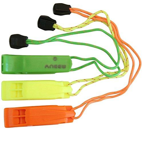 Fischietto di sicurezza doppio tubo forte e resistente alle intemperie per esterni escursionismo campeggio arrampicata barca con laccetto di sopravvivenza di emergenza Aneew, uso, Yellow+Orange+Green