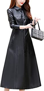 DISSA P19091 Women Faux Leather Long Overcoat Slim Coat Leather Jacket