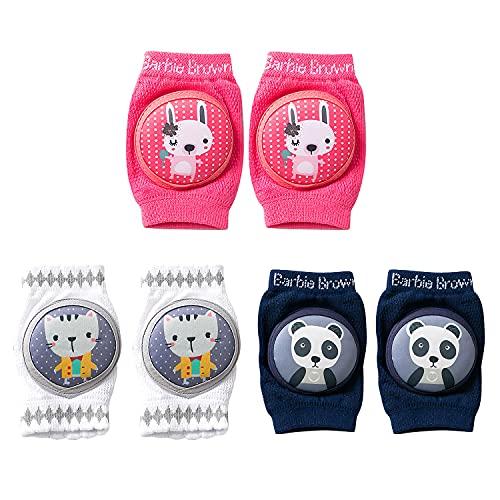 Engcke Rodilleras para Bebés Antisdeslizantes Almohadillas para Niño Rodilla Codo Almohadillas Leg Warm 3 Pares