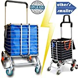 Hereinway 2020 Update Foldable Jumbo Shopping Cart Portable Grocery Cart Utility Lightweight Stair Climbing Cart with Rolling Swivel Wheels and Removable Waterproof Canvas Removable Bag (Large/Blue)