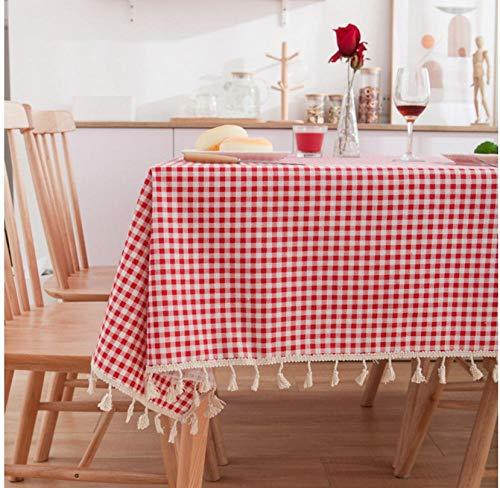 ggzgyz Maison Nappe de Table à Rayures Rouge Simple Nappe imprimée à la Maison comptoir TV Tissu en Coton avec Pompon Couverture de Table de décor de café