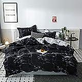 ARYURBU Juego de ropa de cama de mármol de 2 piezas, funda nórdica de 135 x 200 cm y funda de almohada de 80 x 80 cm, edredón de plumón, funda de edredón, cama individual reversible