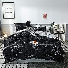 ARYURBU Ropa de cama de color blanco y negro mármol, funda nórdica de 240 x 220 cm + fundas de almohada de 80 x 80 cm, cómodo edredón de plumón, para mujeres y niñas, cama doble reversible