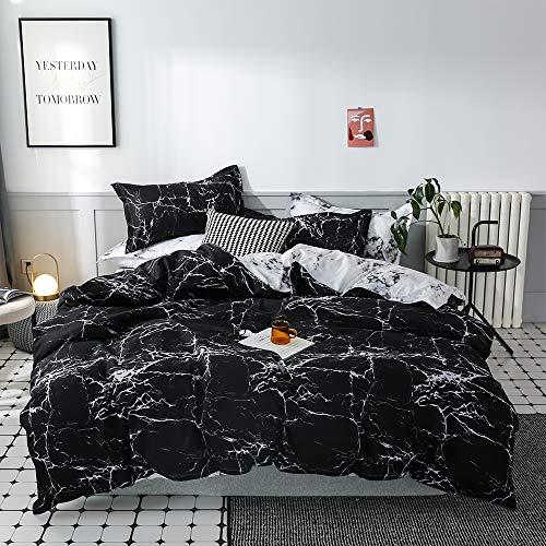 Juego de ropa cama Aryurbu, 2 piezas, color blanco y negro, funda nórdica 155 x 220 cm + almohada...