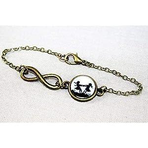 CHRISTMAS SALE – Große und kleine Schwester – Freundschafts Scherenschnitt Infinity Armband bronze,16-17cm, handmade…