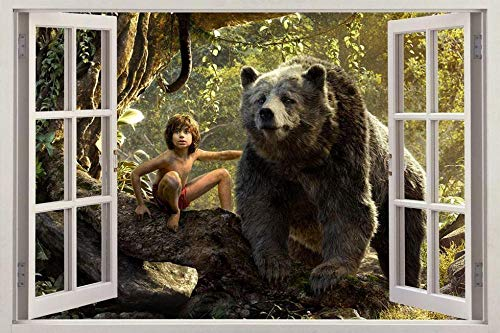 QULIN 3D Look Wandtattoo Das Dschungelbuch 3D Fenster Aufkleber Grafik Wandaufkleber Dekor Kunst Wandbild