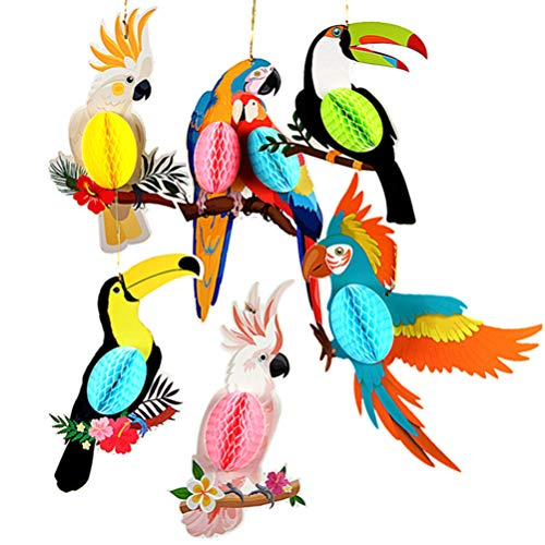 PRETYZOOM 6 Pcs Parrot Honeycomb Bright Color Hawaiian Jungle Party Hanging Decorations for Luau Tropical Beach Wedding Birthday(Colorful)