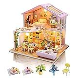 GuDoQi Casa en Miniatura con Música para Adultos para Construir, Casa de Muñecas en Miniatura, Kit de Manualidades DIY, Regalos Hechos a Mano para Cumpleaños y Navidad