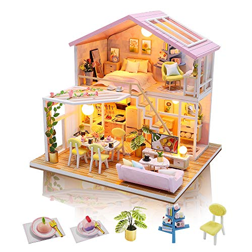 GuDoQi Miniatura Casa Delle Bambole, Kit Casa Bambole In Legno 3D Con Mobili E Musica, Luce A Led, Mini Kit Casa Fatta a Mano da Costruire, Sweet Time House