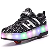 Unisex Kids Scooter LED Shoes Light up Double Wheels Skateboard Sneakers Outdoor Sport Training Roller Skate Shoes for Boys Girls (EU 35, Black 8083)