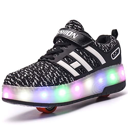Scarpe LED Carica USB 7 Colori Lampeggiante Unisex da Tennis per Il Giorno di Natale del Regalo del Partito di Promenade con Sneakers Skateboard Doppia Ruota Sport all'Aria Aperta (34 EU, Nero 8083)