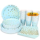Blue and Gold Party Supplies - 200PCS Disposable Blue Paper Plates Dinnerware Set Gold Dots 50 Dinner Plates 50 Dessert Plates 50 12oz Cups 50 Napkins Wedding Birthday Party Baby Shower Christmas