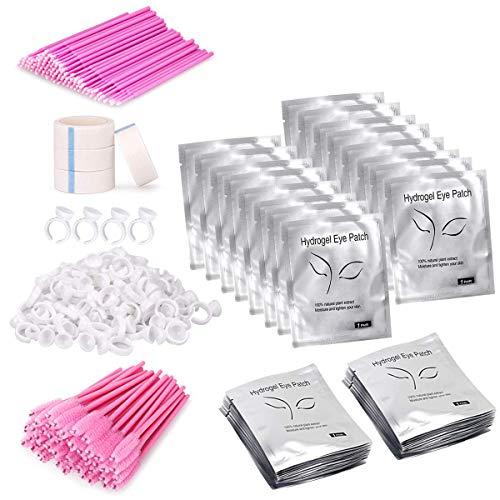TwoWin Lash Eyelash Extension proporciona almohadillas para los ojos con 100 pares de parches para los ojos, 100 cepillos para pestañas para los ojos PCS, 100 anillos para extensiones de ojos para PCS