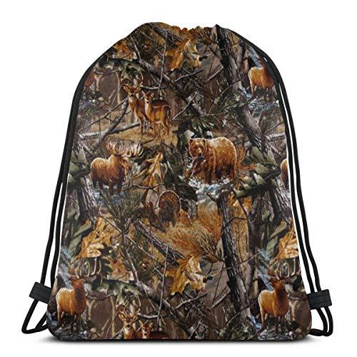 Bolsa de Deporte Mochila con cordón Camo Hunting Deer Bear Moose Turkey Duck Hombres y Mujeres viajan Mochilas de Compras de Fitness