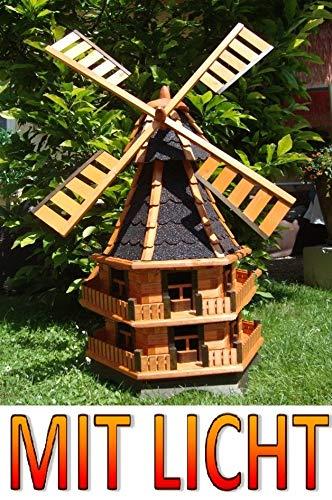 BTV Batovi Windmühle, Windmühlen, windmühlen Garten, imprägniert + kugelgelagert 1,60 m, DOPPELSTÖCKIG, groß XXL in schwarz anthrazit dunkelgrau dunkel,SOLARBELEUCHTUNG